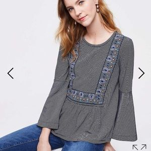 LOFT Striped Embroidered Bell Sleeve Tunic Top
